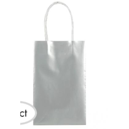 "5""H x 3 5/16""W x 2""D Kraft Paper Bags Silver"