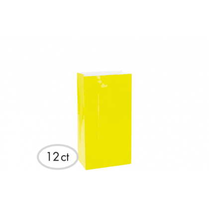 "10""H x 5 1/4""W x 3""D Packaged Paper Bags SUNSHINE YELLOW (Large)"