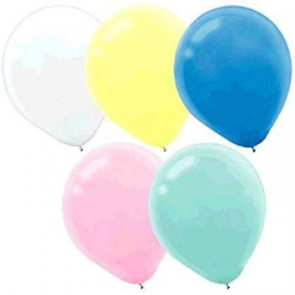 "5"" Pastel Solid Color Latex Balloon Assortment - Sunshine Yellow, New Pink, Powder Blue, Robin's-egg Blue, White, Lavender"