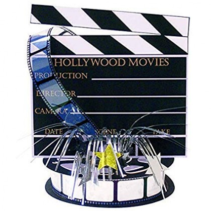 """18"""" Lights! Camera! Action! Director's Board Printed Paper Centerpiece w/Foil Spray"""