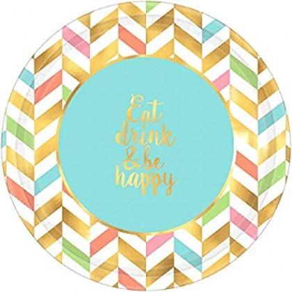 "Eat, Drink & Be Happy Round Metallic Plates, 10 1/2"""