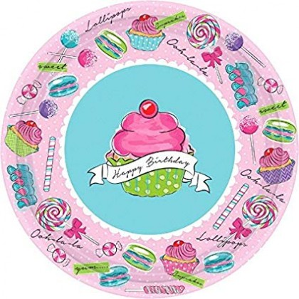 "Birthday Sweets Round Plates, 10 1/2"""