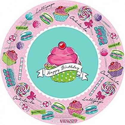 "Birthday Sweets Round Plates, 7"""