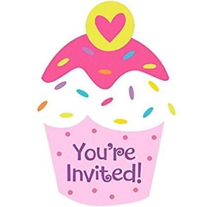 Cupcake Party Postcard Invitations