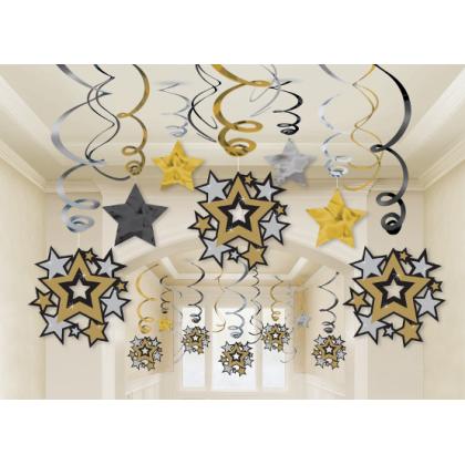 Hollywood Mega Value Pack Foil Swirl Decorations