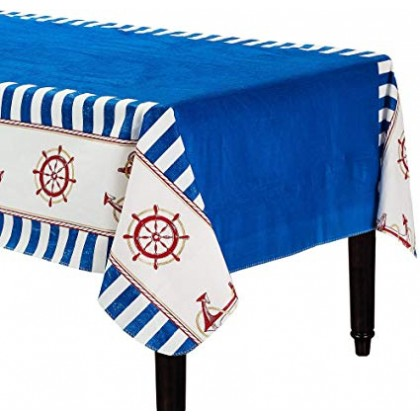 "Nautical Flannel-Backed Table Cover 52""x90"""