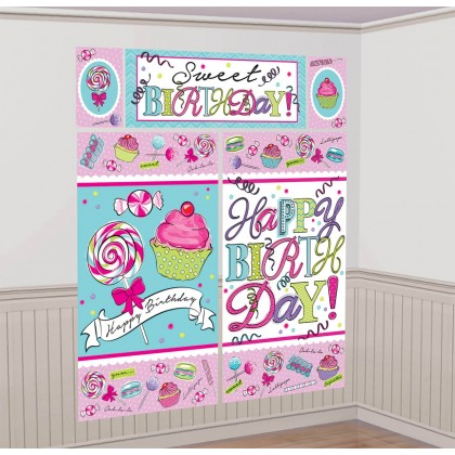 Sweet Party Scene Setters® Wall Decorating Kit - Plastic