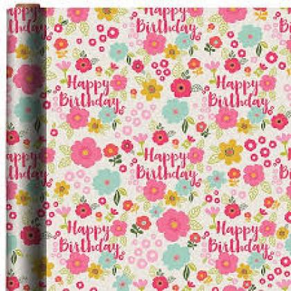 "5' x 30"" Gift Wrap Flora Birthday Printed Value"