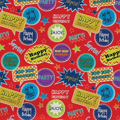 """5' x 30"""" Gift Wrap Red Thought Bubbles Printed Value"""