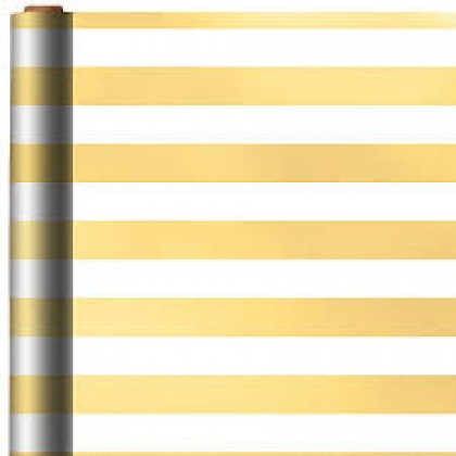"12' x 30"" Gift Wrap Stripe - Gold Printed Jumbo w/ Hang Tab"