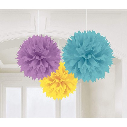 """9 1/2"""" Neutral Fluffy Decorations - Tissue"""