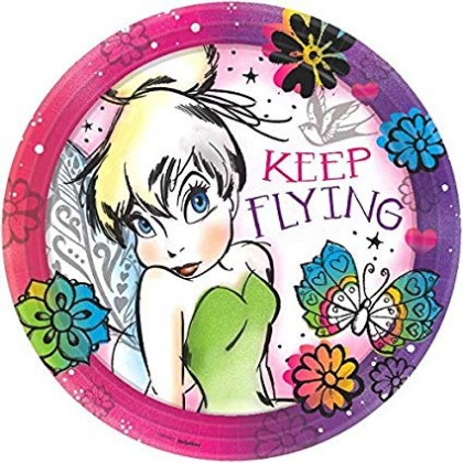 """©Disney Tinker Bell Keep Flying Round Plates, 9"""""""