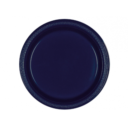 "Navy Flag Blue Festive Occasion® Plastic Tableware Plate, 9"""