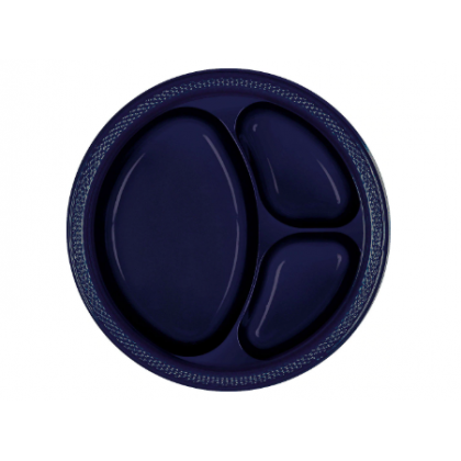 """Navy Flag Blue Festive Occasion® Plastic Tableware Divded Plate, 10 1/4"""""""