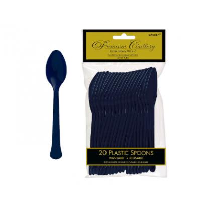 Plastic Spoons - Navy Flag Blue