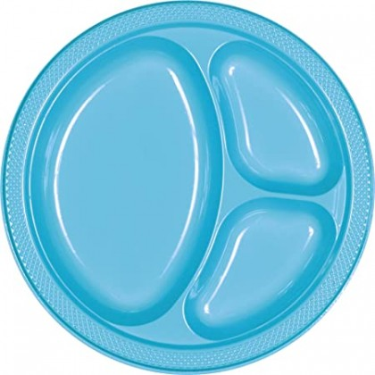"""Caribbean Blue Festive Occasion® Plastic Tableware Divded Plate, 10 1/4"""""""