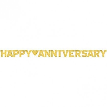 """7 3/4' x 6 1/4"""" Happy Anniversary Large Foil Letter Banner - Gold"""