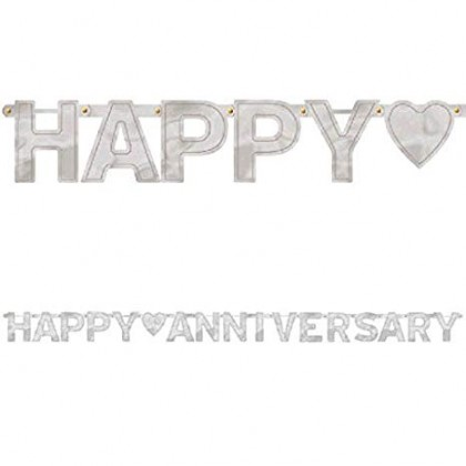 """7 3/4' x 6 1/4"""" Happy Anniversary Large Foil Letter Banner - Silver"""