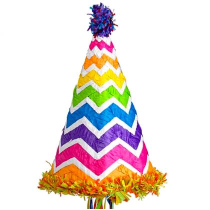 Chevron Birthdy Hat Conventional Pull Piñata