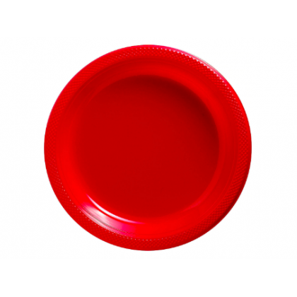 """Apple Red Festive Occasion® Plastic Tableware Plate, 9"""""""
