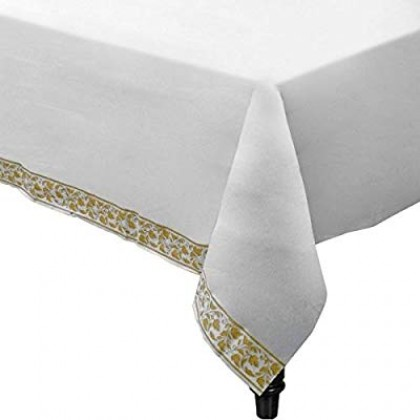 """54"""" x 108"""" Table Cover White w/Gold Trim"""