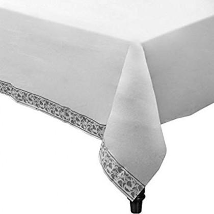 "54"" x 108"" Table Cover White w/Silver Trim"