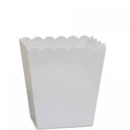 """6"""" Plastic Scalloped Container - Medium - Frosty White"""