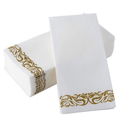 Guest Towels White w/Gold Trim