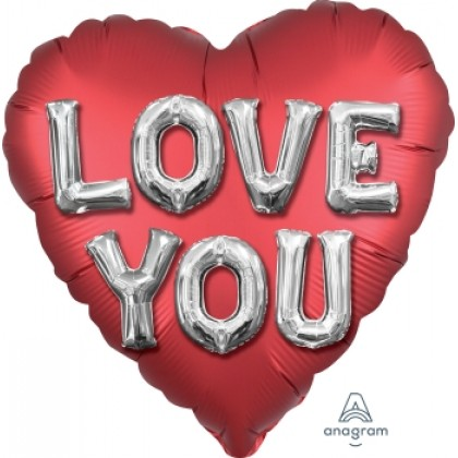 "S40 17"" Satin Love You Balloon Letters Standard Satin XL®"