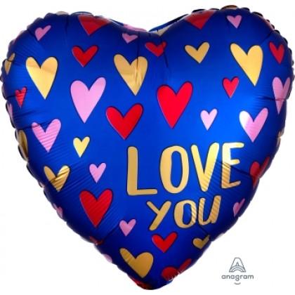 "S40 17"" Satin Navy & Gold Love Standard Satin XL®"