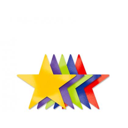 5 Large Star Cutouts - Rainbow