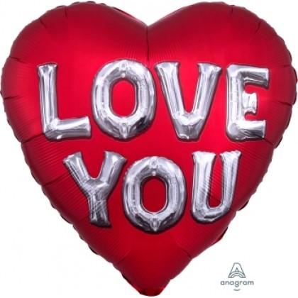 """P32 28"""" Satin Love You Balloon Letters Jumbo HX®"""
