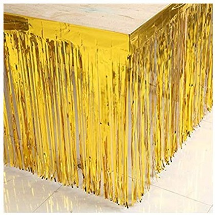 "29"" x 12"" Metallic Fringed Table Skirts - Gold"