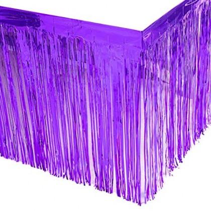 "29"" x 12"" Metallic Fringed Table Skirts - Purple"