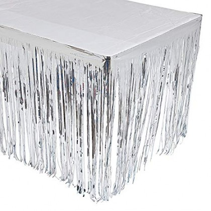 """29"""" x 12"""" Metallic Fringed Table Skirts - Silver"""