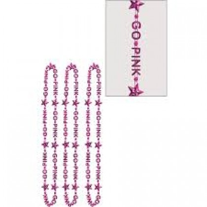 "32"" Word Bead Necklaces (Go Pink) - Pink"