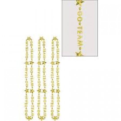 "32"" Word Bead Neckalces (Go Team) - Gold"