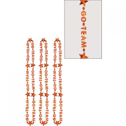 "32"" Word Bead Necklaces (Go Team) - Orange"