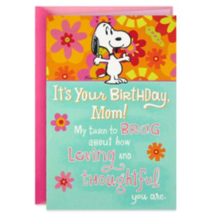 Hallmark Peanuts® Snoopy Bragging Rights Funny Pop-Up Birthday Card for Mom