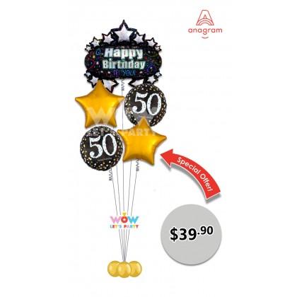 Happy 50th Birthday Balloon Bouquet