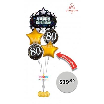 Happy 80th Birthday Balloon Bouquet