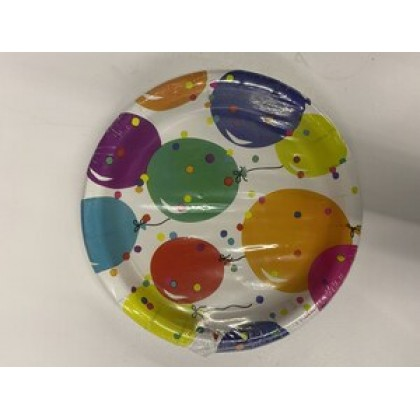 """Party Balloons Round Plates, 6 3/4"""""""