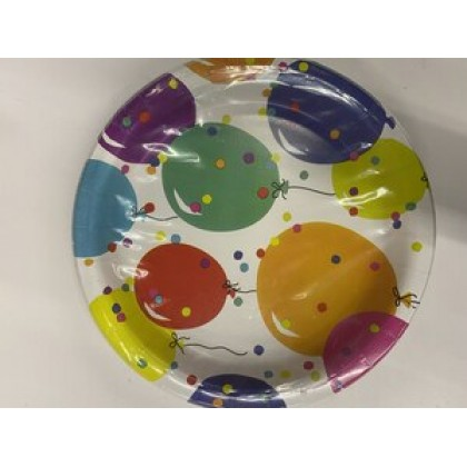 """Party Balloons Round Plates, 8 1/2"""""""