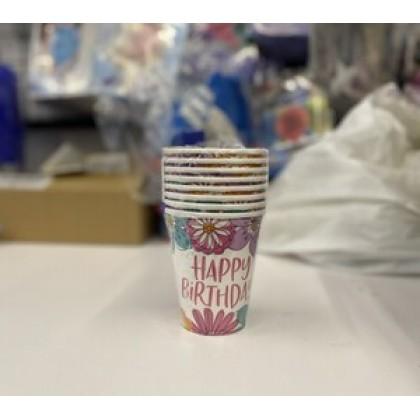 Pretty Petals Birthday Cups, 9 oz