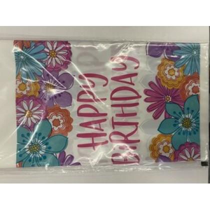 Pretty Petals Birthday Plastic Table Cover